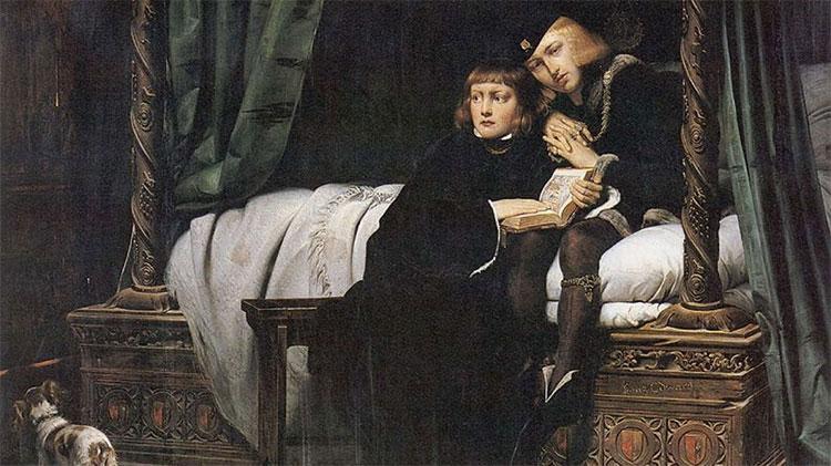 Vua Edward V và Richard - công tước xứ York trong Tháp London do danh họa Paul Delaroche thể hiện.