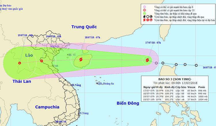 Vị trí và hướng di chuyển của bão số 3.