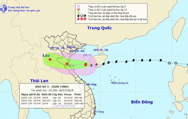Vị trí và hướng di chuyển của bão Sơn Tinh.