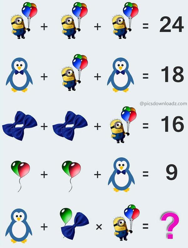 Câu đố về chim cánh cụt, bóng bay, nơ cài áo và minion
