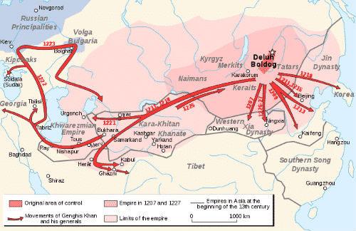 Bản đồ thể hiện những cuộc chiến mà đích thân Thành Cát Tư Hãn tham gia.