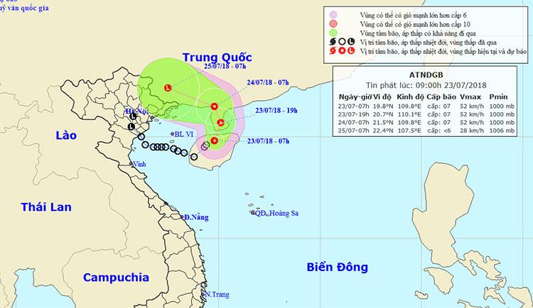 Vị trí và hướng di chuyển của áp thấp nhiệt đới