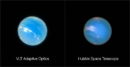 So sánh hình ảnh chụp sao Hải Vương qua chế độ quang học thích ứng mới của VLT và bởi Kính Viễn vọng Không gian Hubble.