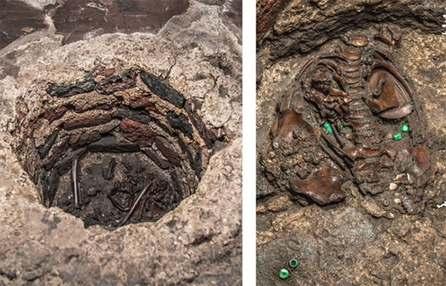 Xương cốt cùng nhiều cổ vật được tìm thấy chôn cùng đứa bé.