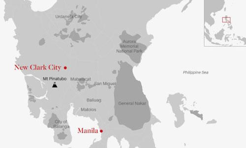 Vị trí của New Clark City, thủ đô Manila và núi lửa Pinatubo.
