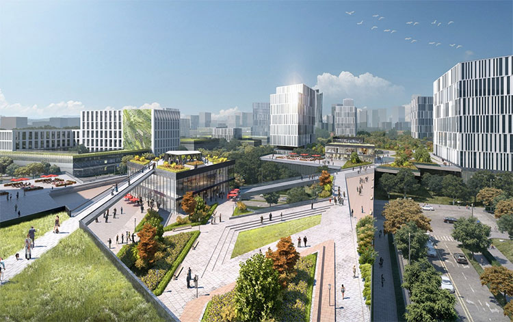 Các khu vực rộng lớn tại New Clark City thiết kế dành cho người đi bộ.