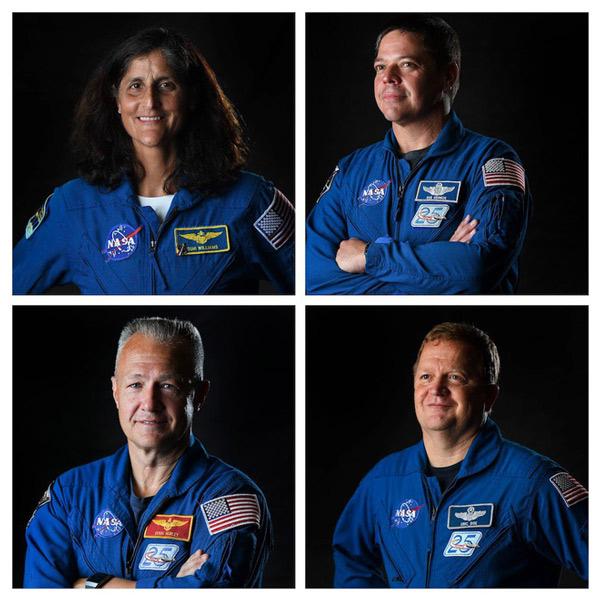 Từ trên xuống dưới, trái sang phải: Sunita Williams, Bob Behnken, Doug Hurley và Eric Boe