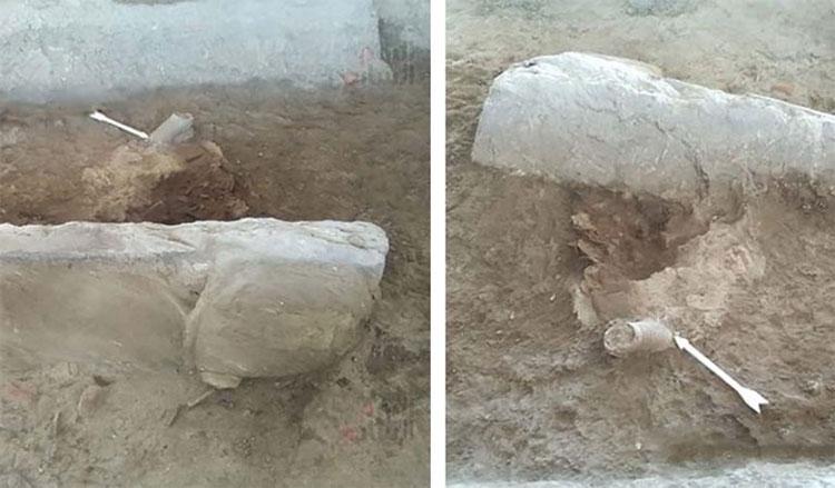 Bức tượng sinh vật mình người đầu sư tử được tìm thấy tại Luxor.