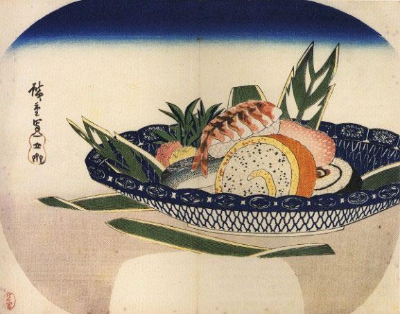 Tranh vẽ sushi của họa sĩ Utagawa Hiroshige vào thế kỉ 19.