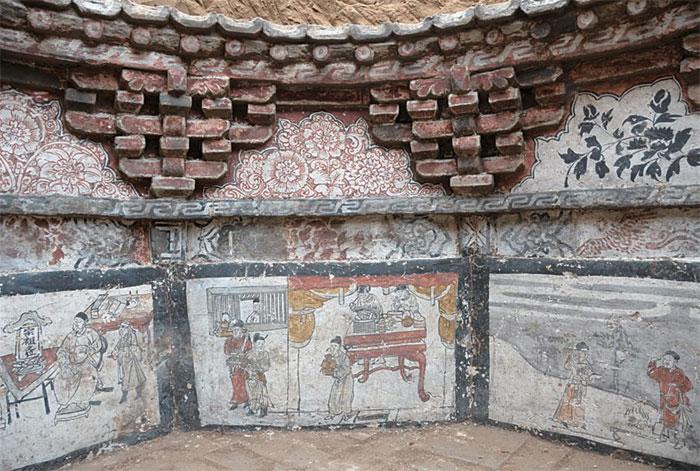 Hình vẽ trên tường mộ kể về đời sống ở Trung Quốc dưới sự thống trị của quân Mông Cổ.