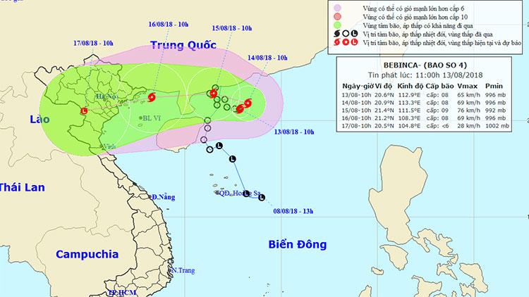 Vị trí và hướng di chuyển của bão Bebinca.