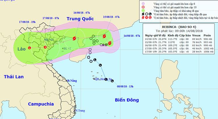 Vị trí và hướng di chuyển của bão số 4.