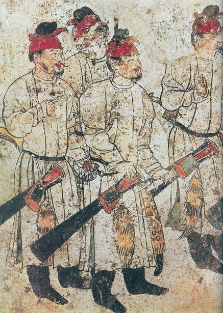 Hình tượng binh sĩ được khắc họa trên bức tranh tường bên trong ngôi mộ của Lý Hiện
