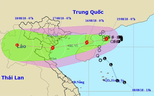Dự báo đường đi và khu vực ảnh hưởng của bão Bebinca.