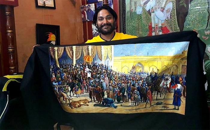 Bức tranh Phiên tòa Ranjit Singh với gần 2.000 nhân vật đã được hoàn thành.