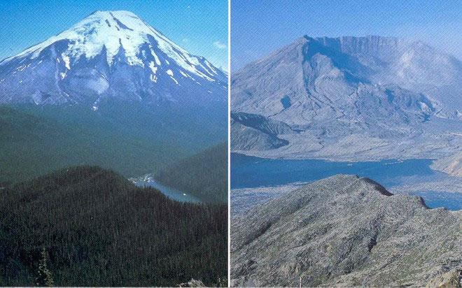 Núi lửa St. Helens, trước và sau vụ phun trào.