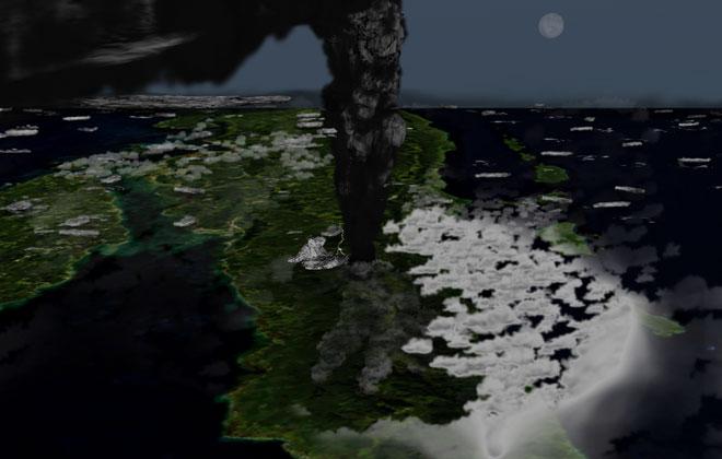Đồ họa mô phỏng vụ phun trào núi lửa Toba.