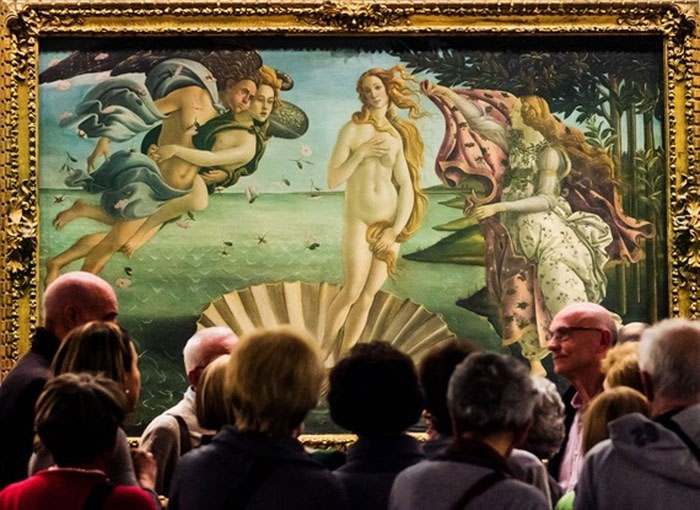 """Bức họa """"The Birth Venus"""" tại bảo tàng Mỹ thuật, Florence, Ý."""