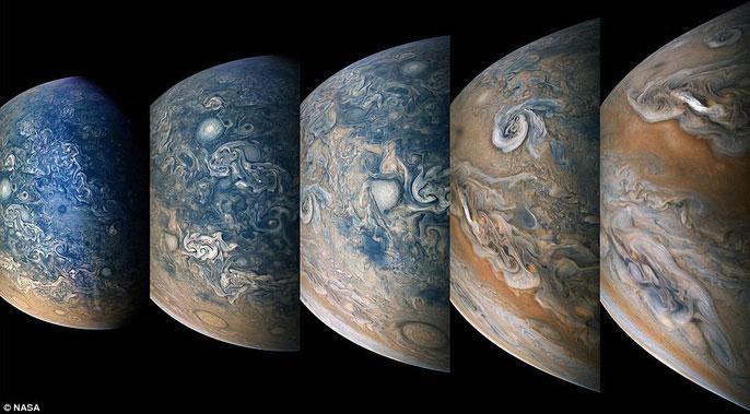 Một hình ảnh mới được NASA công bố cho thấy sao Mộc là một hành tinh bão tố với lớp mây bên trên biến chuyển liên tục