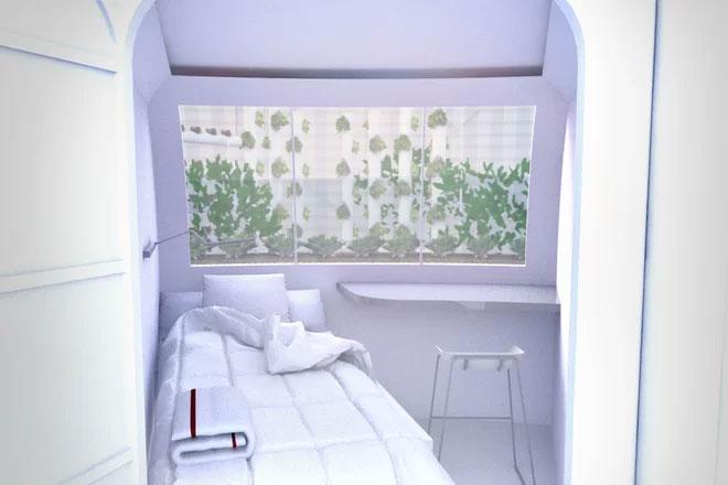 Một căn phòng ngủ xinh xắn có cửa sổ hướng ra vườn cây của ngôi nhà