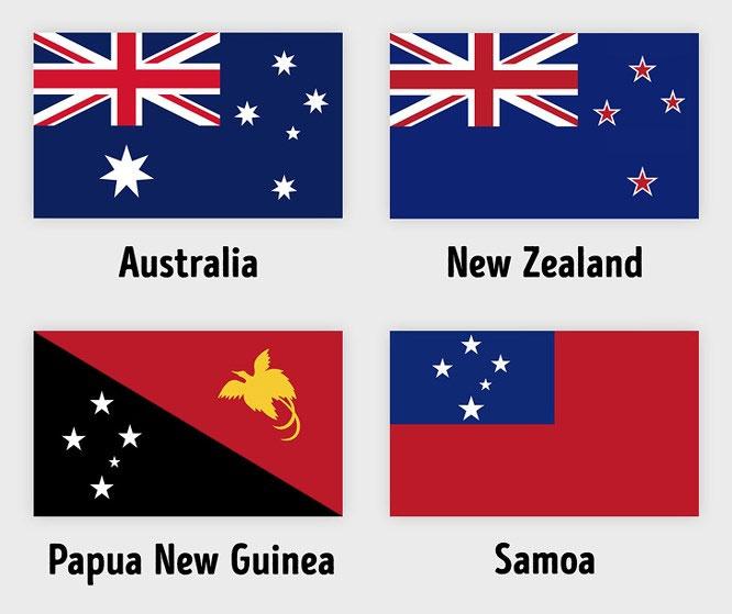 Quốc kỳ Brazil, Úc, New Zealand, Papua New Guinea và Samoa