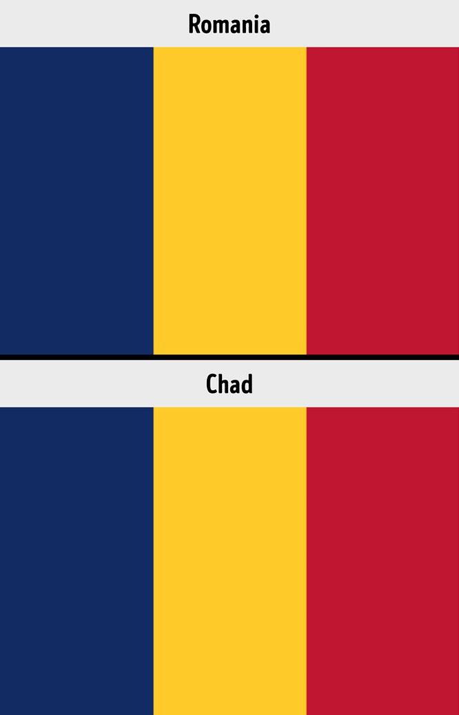 Quốc kỳ Romania và Chad