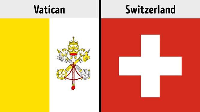 Quốc kỳ Vatican và Thụy Sỹ