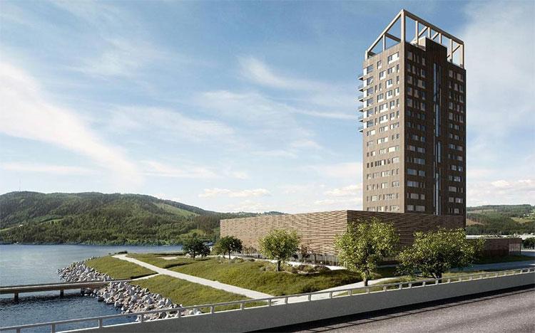 Tháp Mjostarnet đang được xây dựng ở Na Uy.