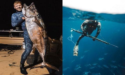 Con cá ngừ răng chó Sam săn được nặng gần 40kg.