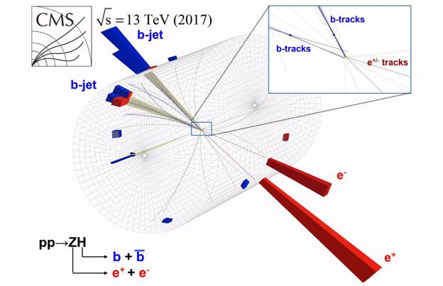 Mô phỏng sự kiện va chạm proton-proton trong LHC của CMS có đặc điểm của một hạt Higgs phân rã thành 2 quark đáy