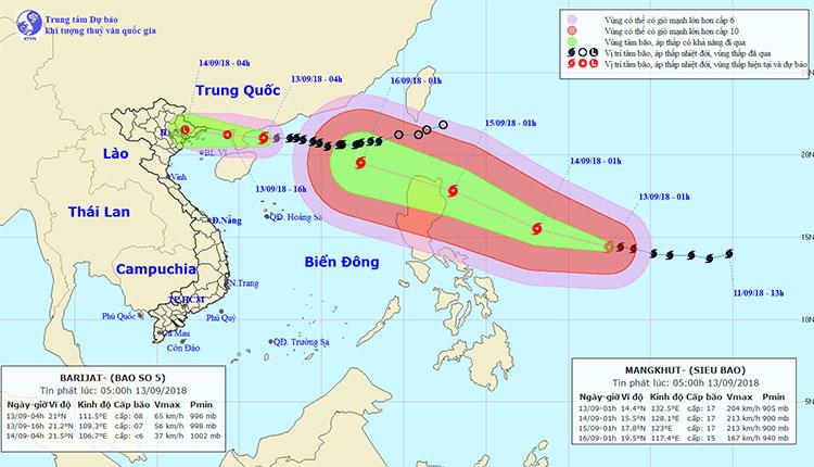 Dự báo đường đi của siêu bão Mangkhut.