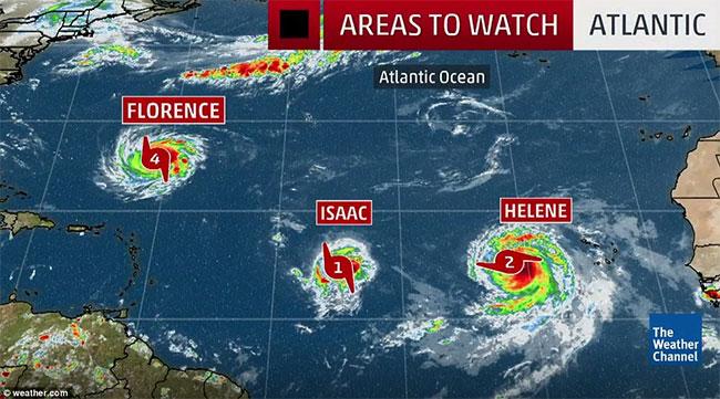Bão Florence, Isaac, và Helene đang tiến về châu Mỹ.