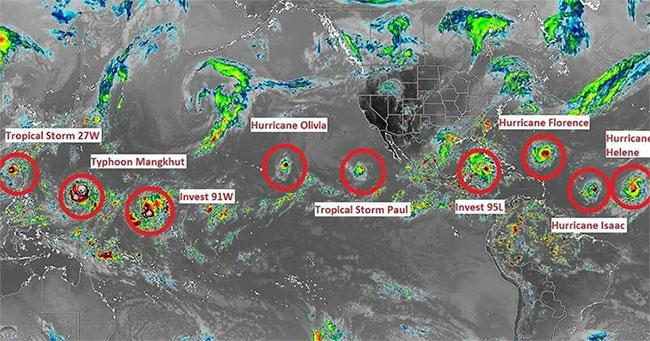 9 cơn bão đang di chuyển đến nhiều khu vực khác nhau trên thế giới.