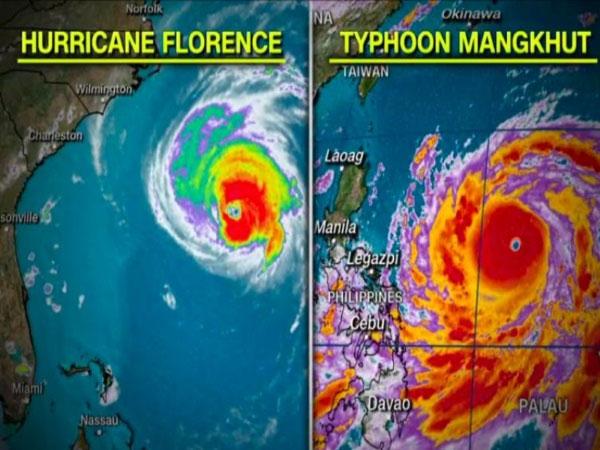 Ảnh vệ tinh bão Florence và bão Mangkhut.