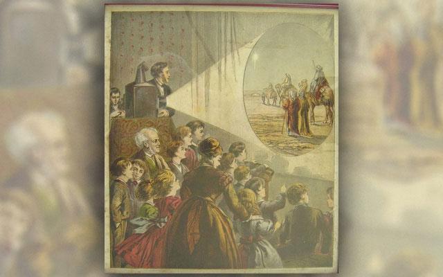 Khán giả đến xem một buổi trình chiếu ở thế kỷ 19.