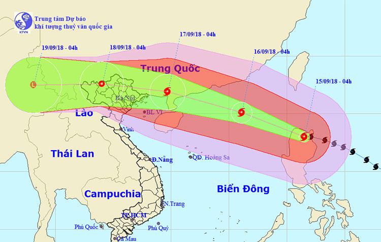 Khoảng trưa và chiều nay, siêu bão đi vào khu vực Biển Đông.