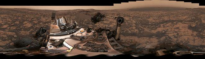 Hình ảnh panorama 360 độ do tàu Curiosity chụp được.