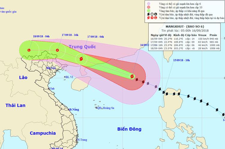 Hướng di chuyển của bão Mangkhut.
