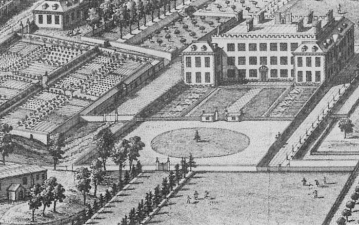 Hình ảnh tòa dinh thự được vẽ trong một quyển sách cổ thế kỷ 18