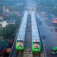 5 đoàn tàu đường sắt trên cao Cát Linh-Hà Đông chạy thử ở Hà Nội