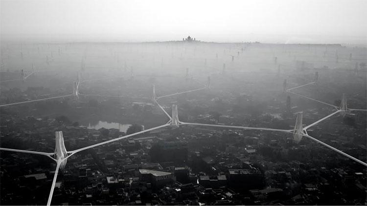 Mạng lưới cầu trên cao hình lục giác nối các tòa tháp.