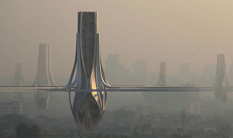 Ý tưởng xây hệ thống tháp lọc không khí tại New Delhi.