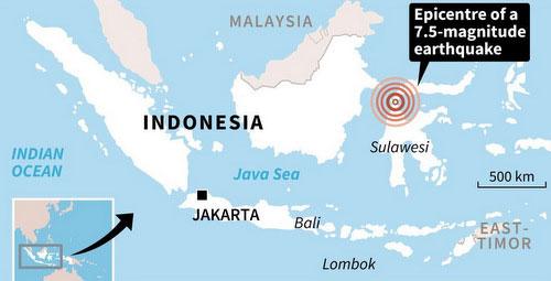 Tâm chấn của trận động đất mạnh 7,5 độ chiều 28/9 ở Indonesia.