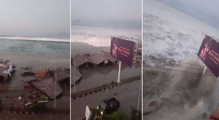 Sóng thần ập vào bờ tại Indonesia