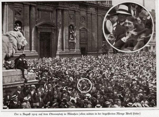 Adolf Hitler có mặt khi giới chức trách thông báo về việc Chiến tranh thế giới 1 nổ ra.