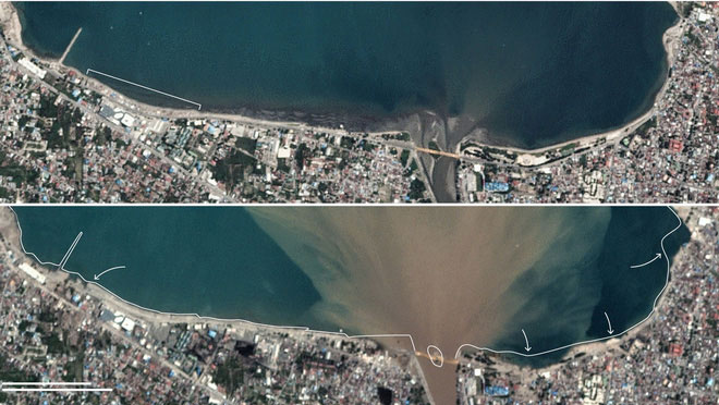 Bạn có thể thấy các công viên, quán cà phê, nhà ở và đài tưởng niệm dọc bờ biển đều đã bị cuốn trôi.