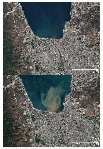Hình ảnh vệ tinh này của Planet Labs cho thấy dòng nước đầy bùn đất chảy ra biển sau khi cơn lũ rút xuống.