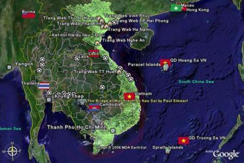 Bản đồ Việt Nam qua ảnh vệ tinh.