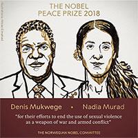 Nobel Hòa bình 2018 cho bác sĩ và nhà hoạt động chống bạo lực tình dục