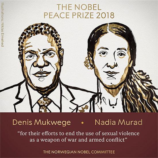 Hai chủ nhân giải Nobel Hòa bình 2018.